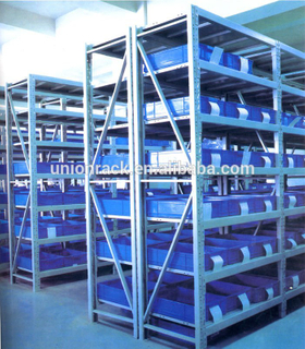 Multi-level warehouse storage longspan shelving with steel decking
