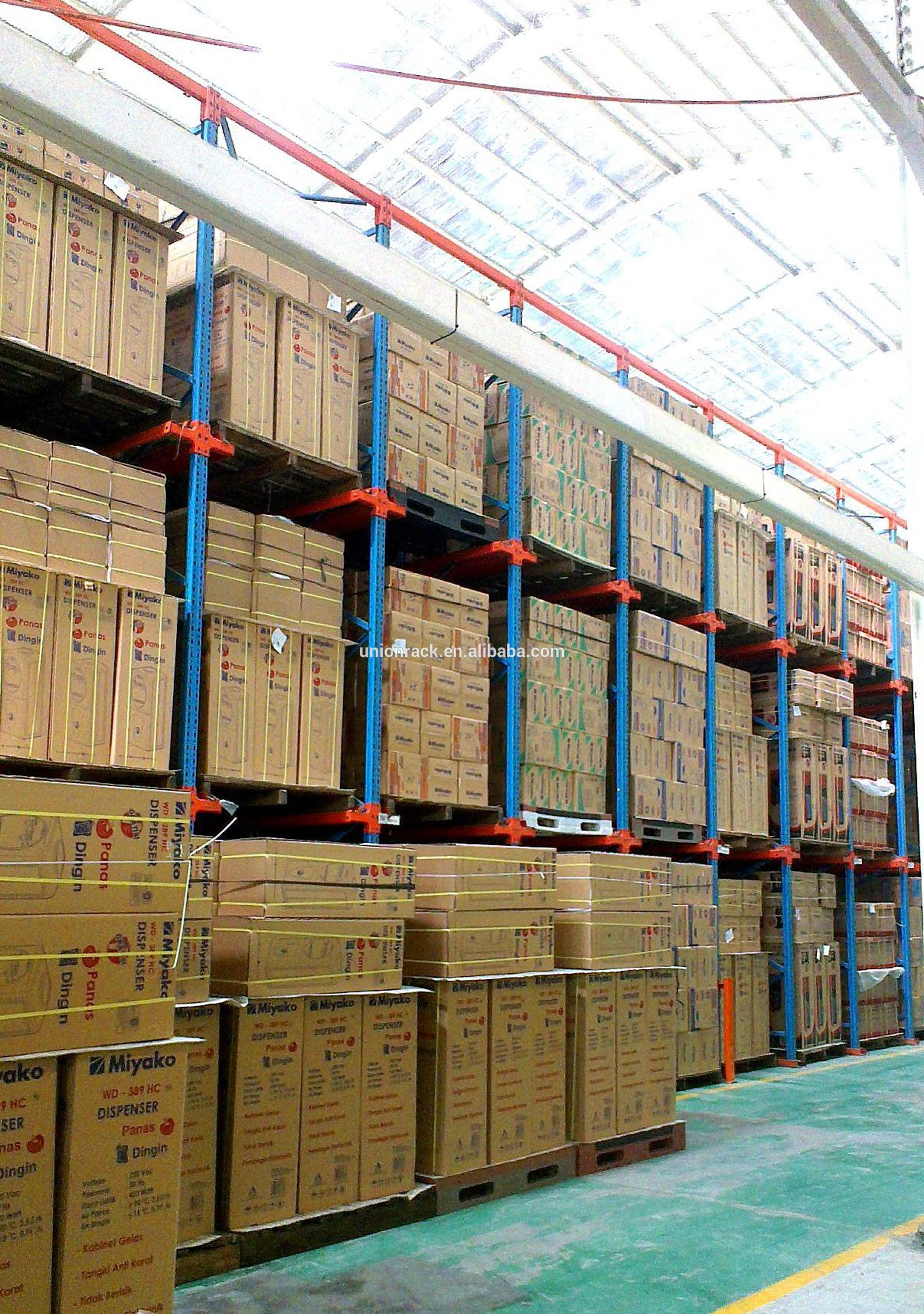 Heavy duty storage drive in rack pallet racking
