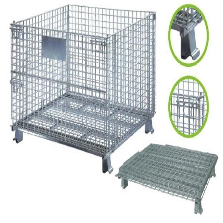 High Loading Capacity Galvanized Collapsible Industrial Stackable Storage Wire Mesh Container