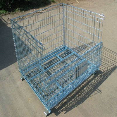 Heavy Duty Warehouse Storage Foldable Galvanized Metal Wire Mesh Container
