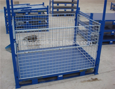 Powder Coating/Galvanized Foldable Stacking Metal Pallet Cage For Sale